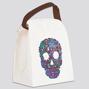 Teardrop Candy Skull In Blue, Green and Pink Canva