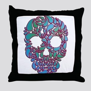 Teardrop Candy Skull In Blue, Green and Pink Throw