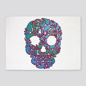 Teardrop Candy Skull In Blue, Green 5'x7'a
