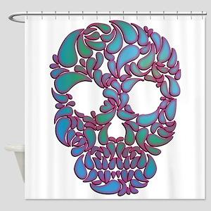 Teardrop Candy Skull In Blue, Green Shower Curtain