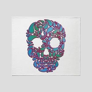 Teardrop Candy Skull In Blue, Green Throw Blanket