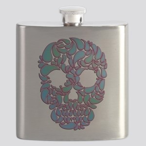 Teardrop Candy Skull In Blue, Green and Pink Flask