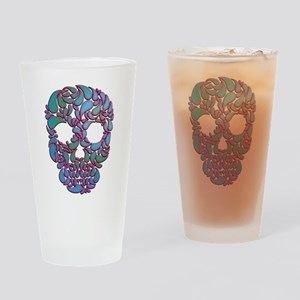 Teardrop Candy Skull In Blue, Green and Pink Drink