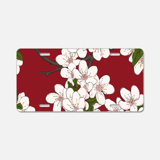 Cherry Blossoms Aluminum License Plate