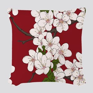 Cherry Blossoms Woven Throw Pillow