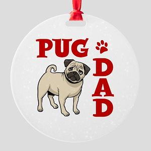 PUG DAD Round Ornament