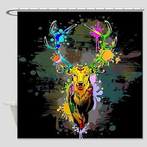Deer PopArt Dripping Paint Shower Curtain