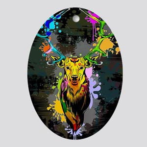 Deer PopArt Dripping Paint Oval Ornament