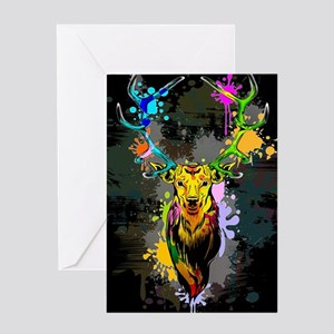 Deer PopArt Dripping Paint Greeting Cards