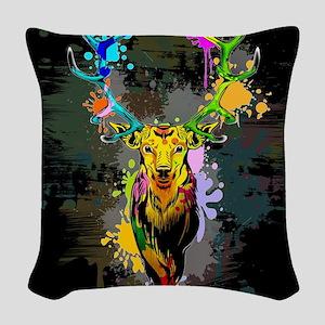 Deer PopArt Dripping Paint Woven Throw Pillow