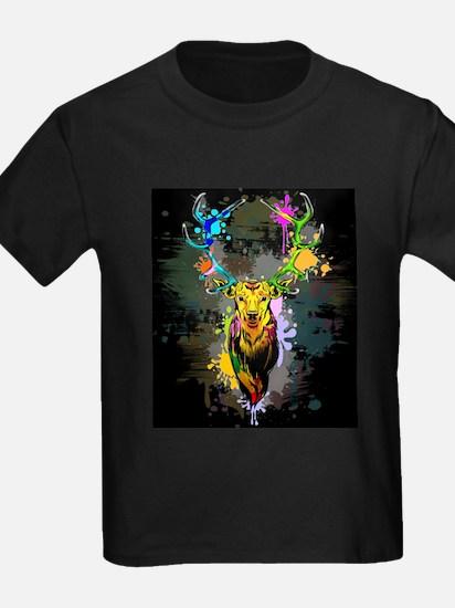 Deer PopArt Dripping Paint T-Shirt
