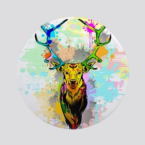 Deer PopArt Dripping Paint Round Ornament