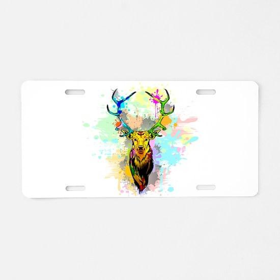 Deer PopArt Dripping Paint Aluminum License Plate
