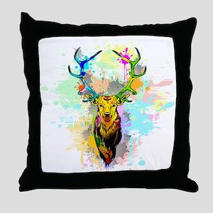 Deer PopArt Dripping Paint Throw Pillow