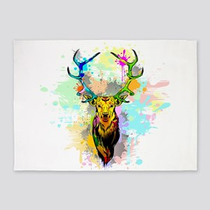 Deer PopArt Dripping Paint 5'x7'Area Rug