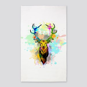 Deer PopArt Dripping Paint Area Rug