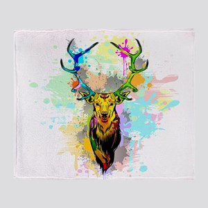 Deer PopArt Dripping Paint Throw Blanket