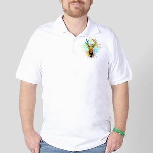 Deer PopArt Dripping Paint Golf Shirt