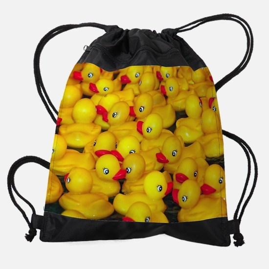 Cute yellow rubber duckies Drawstring Bag
