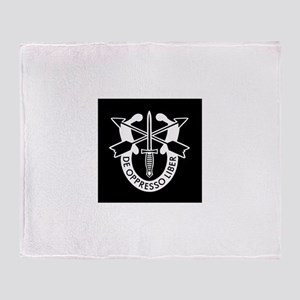 US Army Special Forces SF Green Bere Throw Blanket