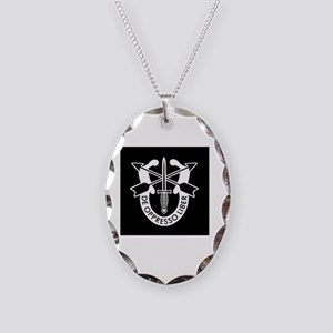 US Army Special Forces SF Gree Necklace Oval Charm