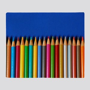 Colorful pencil crayons Throw Blanket