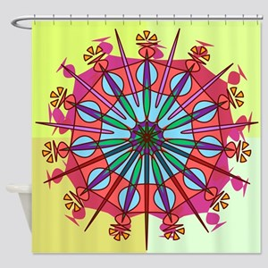 Abstract Spiked Flower Wheel in Blue, Yellow, Pink