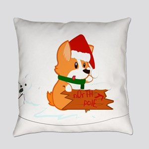 Santa Corgi Everyday Pillow
