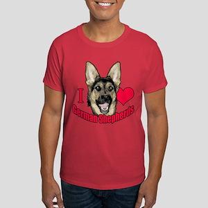 I Hart German Shepherds Dark T-Shirt