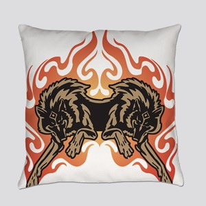 flame wolves Everyday Pillow