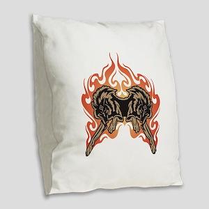 flame wolves Burlap Throw Pillow