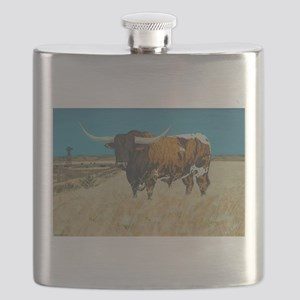 Longhorn and Windmill Flask