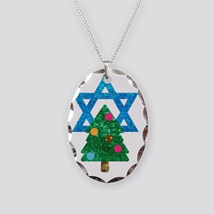glitter christmukkah Necklace Oval Charm