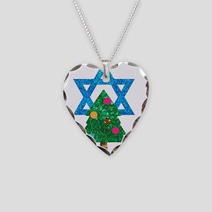 glitter christmukkah Necklace Heart Charm