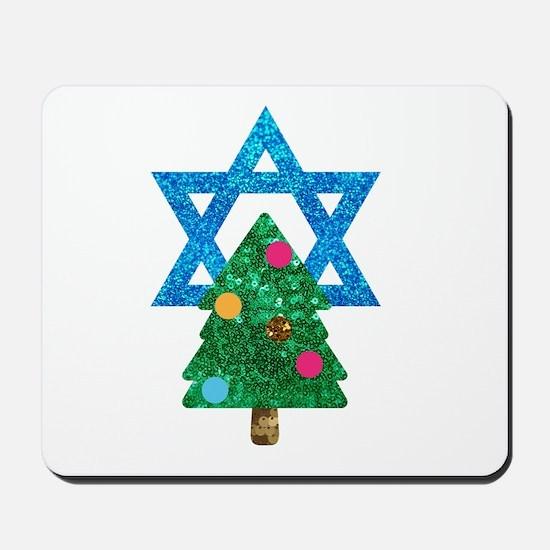 glitter christmukkah Mousepad