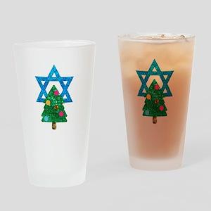 glitter christmukkah Drinking Glass