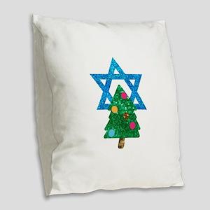 glitter christmukkah Burlap Throw Pillow