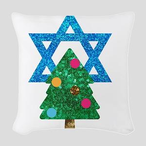glitter christmukkah Woven Throw Pillow