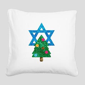 glitter christmukkah Square Canvas Pillow