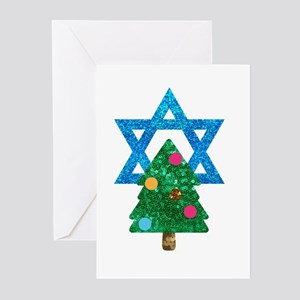 glitter christmukkah Greeting Cards