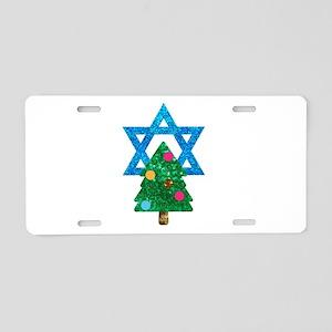 glitter christmukkah Aluminum License Plate