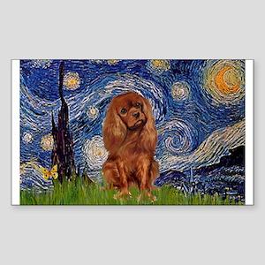 Starry Night & Ruby Cavalier Rectangle Sticker