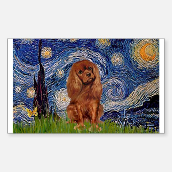 Starry Night & Ruby Cavalier Rectangle Decal