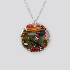 the scream christmas Necklace Circle Charm
