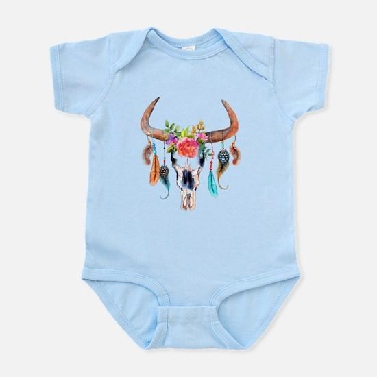 Colorful Bull Horns & Skull Flowers & Fe Body Suit