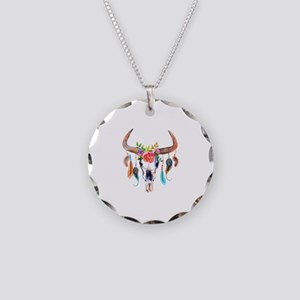 Colorful Bull Horns & Skull Necklace Circle Charm