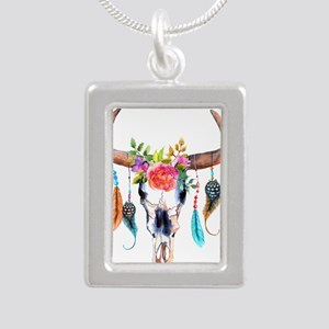 Colorful Bull Horns & Skull Flowers & Fe Necklaces