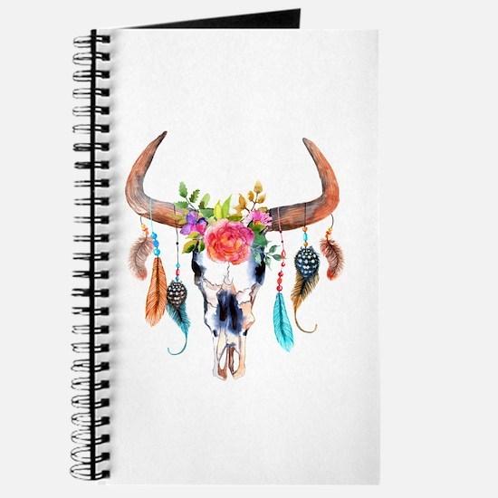 Colorful Bull Horns & Skull Flowers & Feat Journal