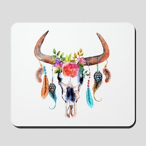 Colorful Bull Horns & Skull Flowers & Fe Mousepad