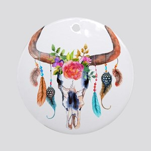 Colorful Bull Horns & Skull Flowers Round Ornament